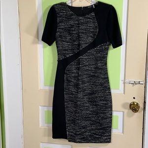 Elie Tahari  black gray tweed shift dress 4